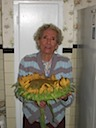 Grandma Holding the Sunflower